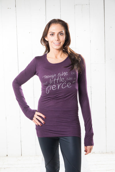 Long Sleeve Bamboo T-shirt - Fierce, Eggplant Purple