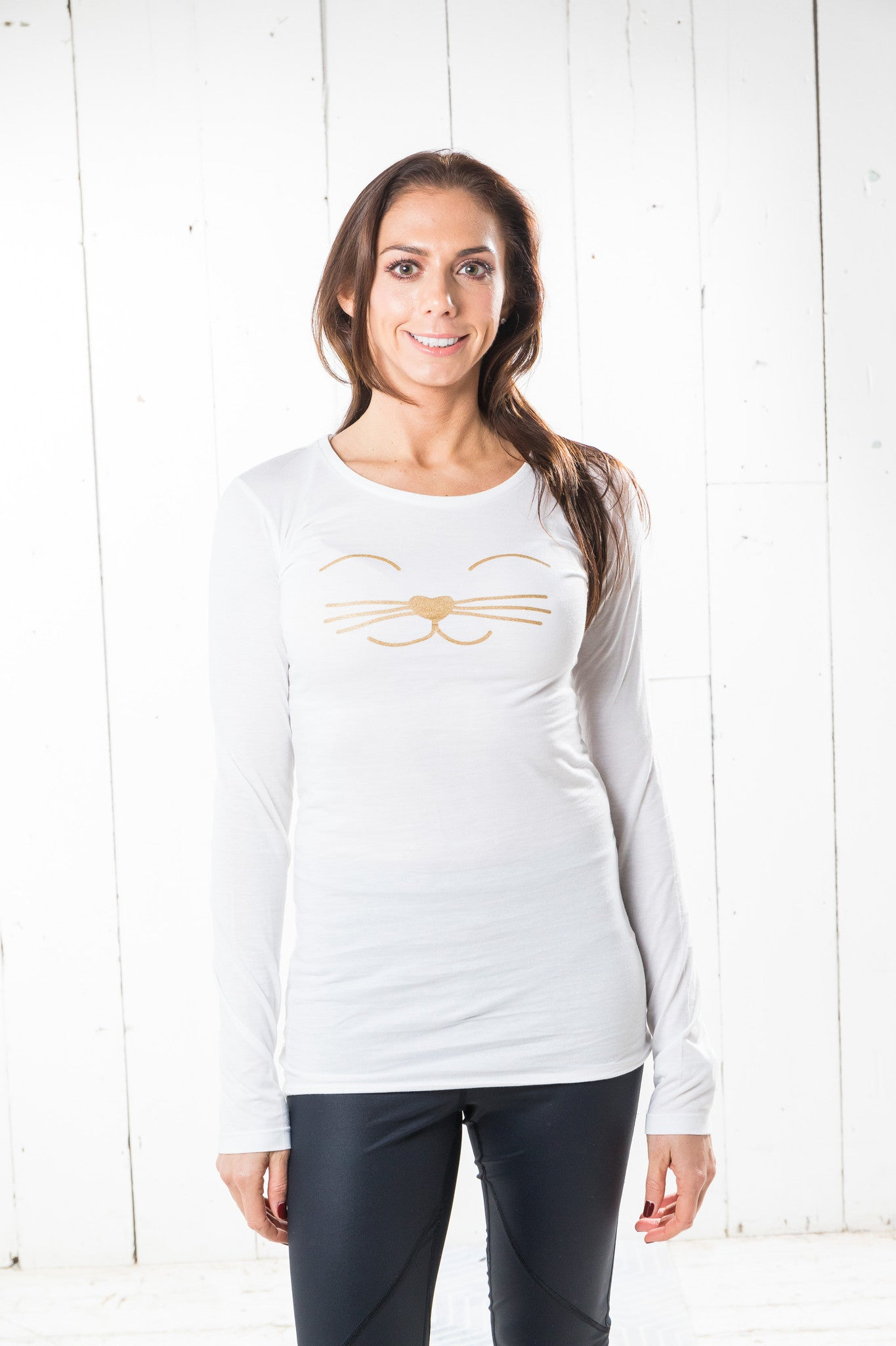 Long Sleeve Bamboo T-shirt - Pilates Cat, White