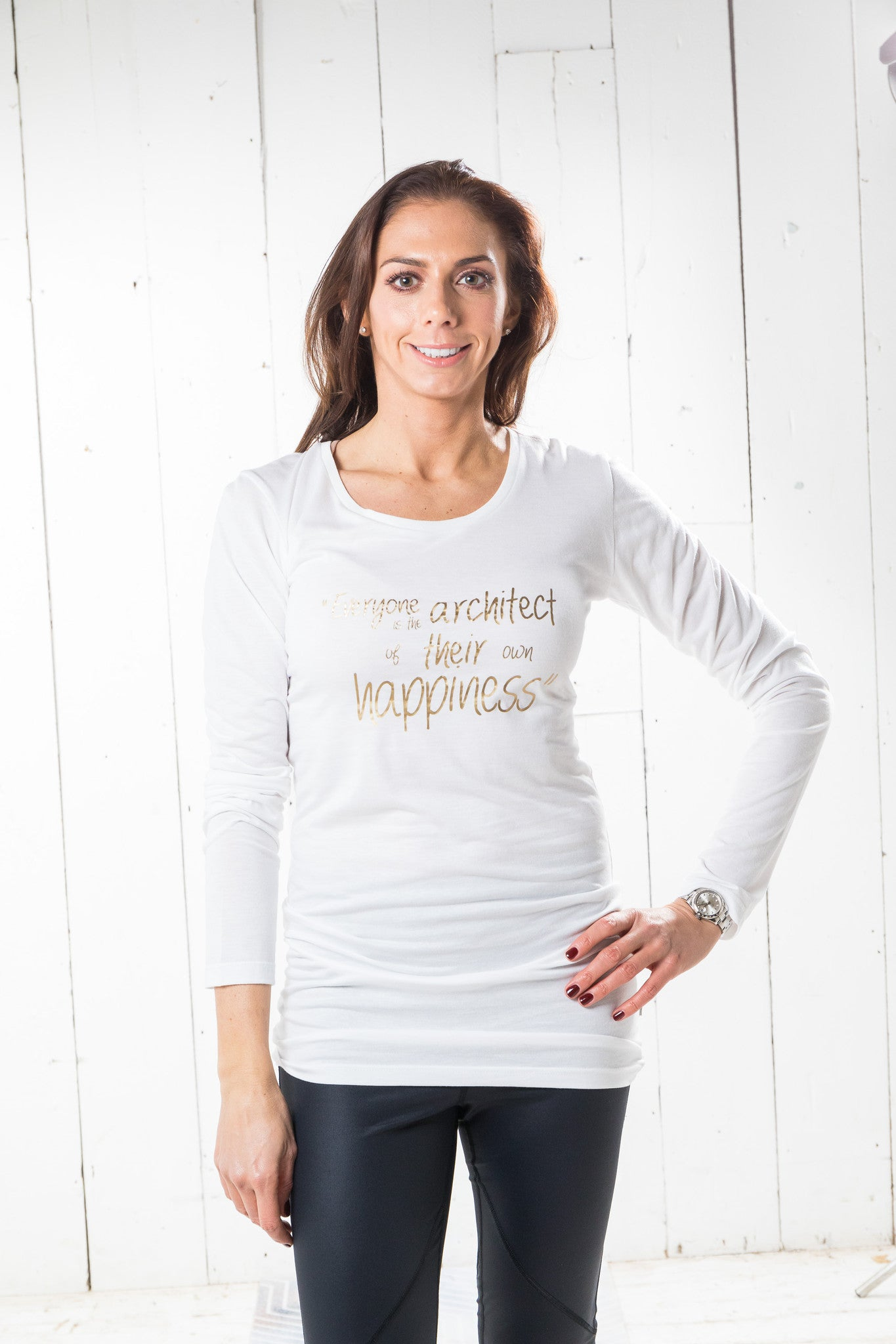 Long Sleeve Bamboo T-shirt - Happiness, White