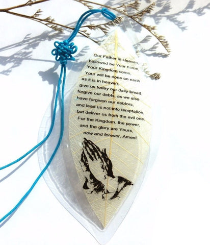 The Lords Prayer - Imprinted Leaf Bookmark