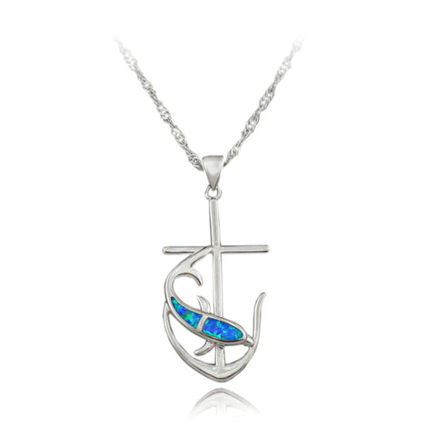 Opal Dolphin Anchor/Cross Necklace