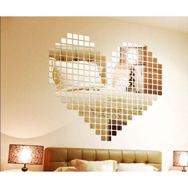 100 Pcs Acrylic Mirrored Stickers (Square shape) for Wall Decoration Model AMS0019-PinkPinker