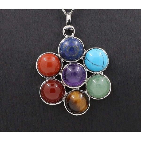 7 Chakra - Natural Stones - Reiki Healing - Pendant Necklace for Women - Yoga Jewelry Pendants-PinkPinker