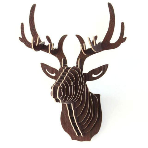 Amazing 3D Puzzle - Wooden puzzle - Hanging Deer Head- Home Decoration-PinkPinker