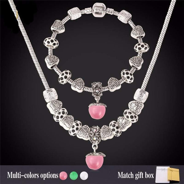Fashion Jewelry Set for Women - Silver Plated - Natural Stone Jewelry-PinkPinker