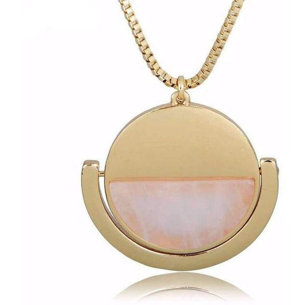 Fashion New Pendent for Women -Natural Stone Jewelry - Gold Plated-PinkPinker