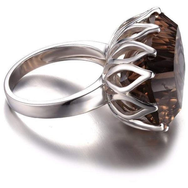 Fashion New Unique Sterling Silver Ring - Natural Smoky Quartz Jewelry-PinkPinker