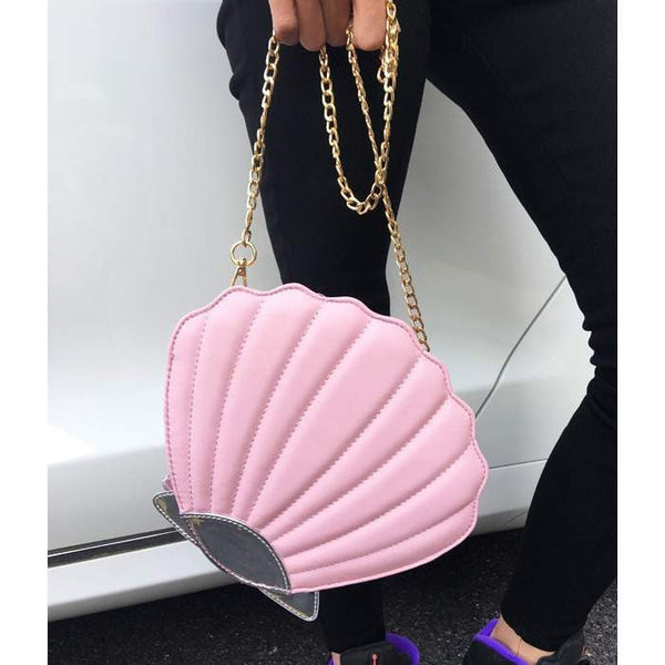 Funny Fashion Shell Shape Chain Shoulder Bag in 4 colors-PinkPinker