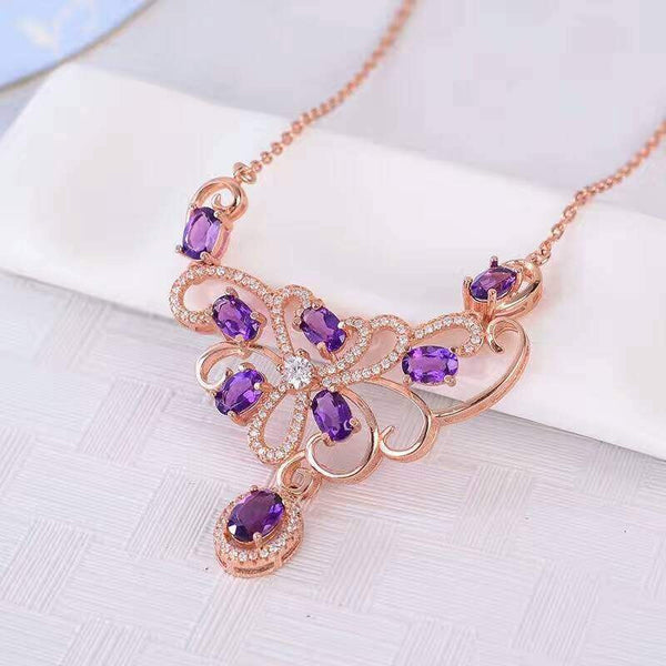 Luxurious Natural Amethyst Jewelry Sterling Silver Necklace for women - February Birthstone-PinkPinker
