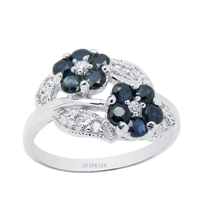 Luxurious Natural Sapphire Sterling Silver Ring for Women, September Birthstone-PinkPinker