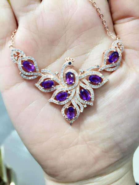 Natural Amethyst Jewelry Sterling Silver Necklace for women - February Birthstone-PinkPinker