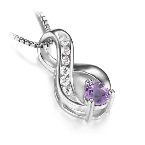 Natural Amethyst Jewelry Sterling Silver Necklace Pendant For Women February Birthstone-PinkPinker