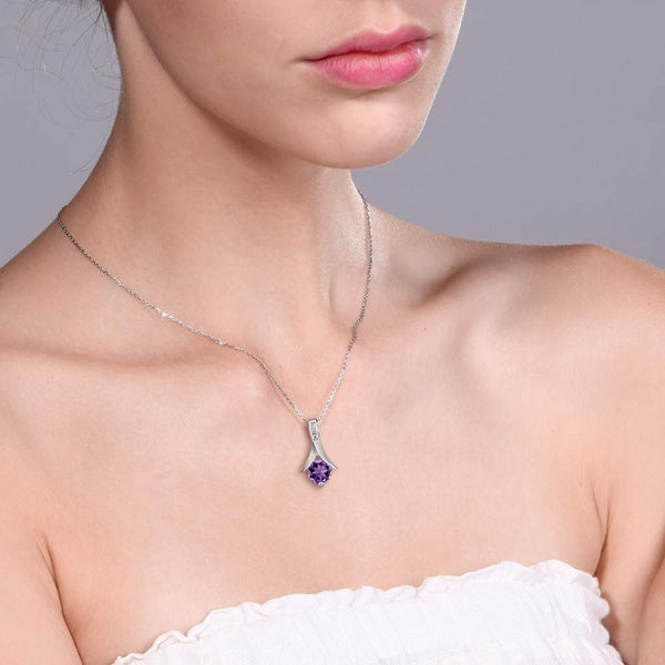 Natural Amethyst Jewelry Sterling Silver Pendant For Women - February Birthstone-PinkPinker