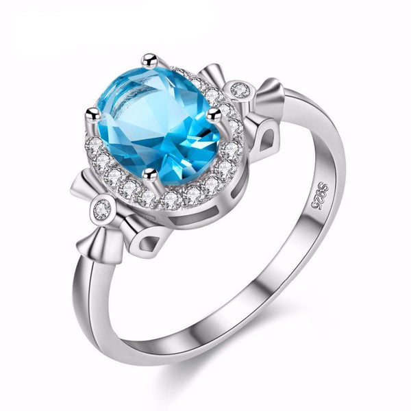 Natural Blue Topaz jewelry Sterling Silver Ring for Women - November Birthstone-PinkPinker