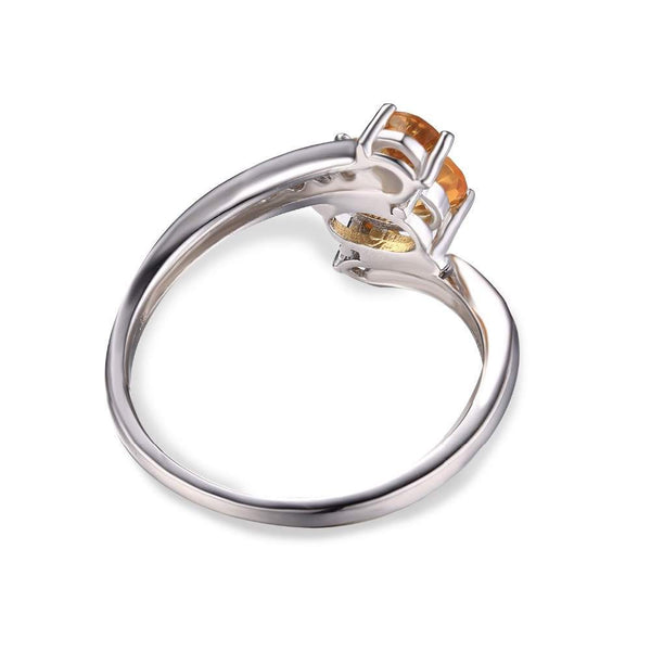 Natural Citrine Jewelry Sterling Silver Ring for Women - November Birthstone-PinkPinker