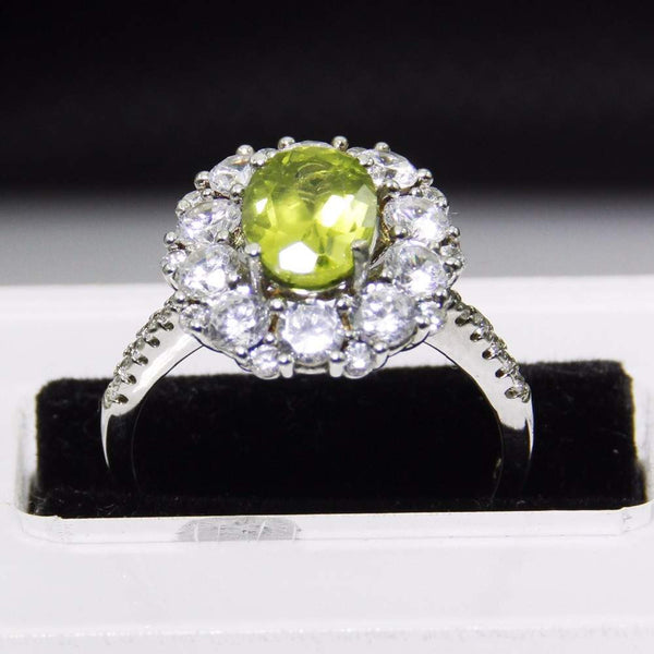 Natural Peridot Sterling Silver Ring for Women - August Birthstone-PinkPinker