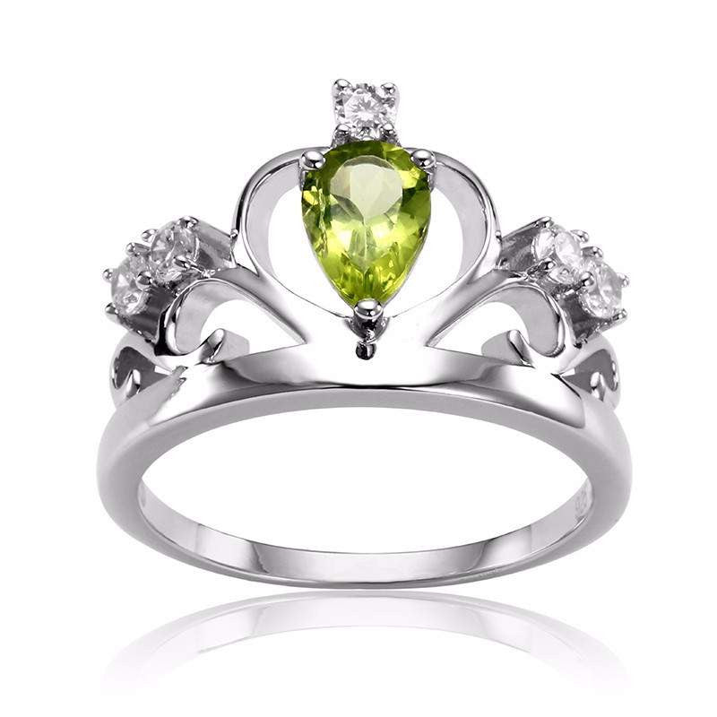 Natural Peridot Sterling Silver Ring for Women, August Birthstone-PinkPinker