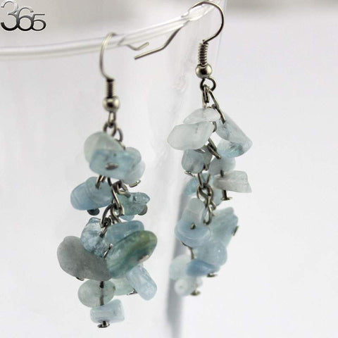 Natural Semi Precious Stones jewelry - Aqua - Hook Earrings-PinkPinker