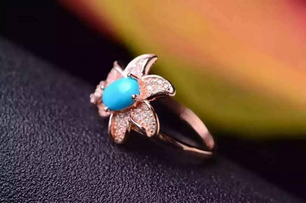Natural Turquoise Jewelry Sterling Silver Ring for women - December Birthstone-PinkPinker