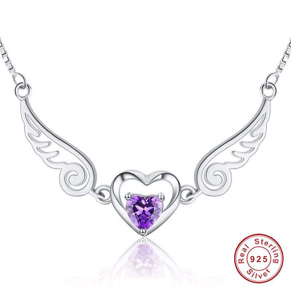 Sterling Silver Jewelry Angle Wings Necklace for women Natural Stone Jewelry-PinkPinker
