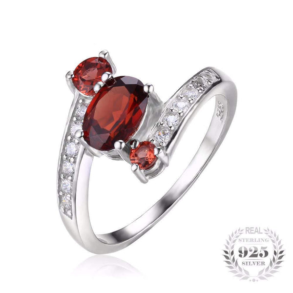 Sterling Silver Ring for Women, Natural Red Garnet, January Birthstone-PinkPinker