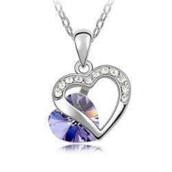 Two Hearts Necklace - Platinum Plated - Austria crystal-PinkPinker