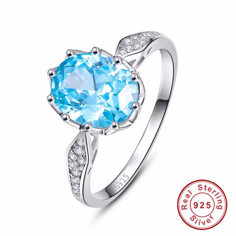 Sterling Silver Jewelry Blue Topaz Ring-PinkPinker