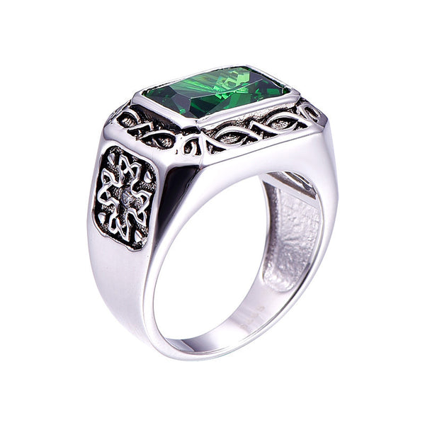 Nano Russian Emerald Ring For Men - Sterling Sliver Jewelry-PinkPinker