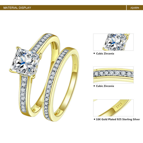 Yellow Gold Plated Sterling Silver Jewelry Cubic Zirconia Ring Set-PinkPinker