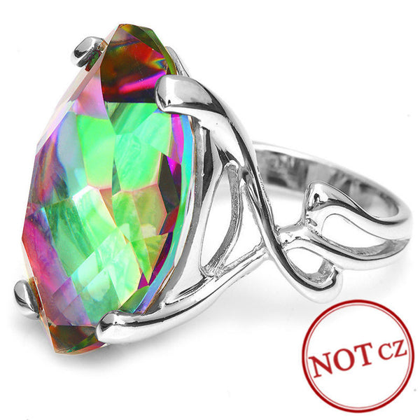 Natural Rainbow Fire Mystic Topaz Ring - Sterling Silver Jewelry-PinkPinker