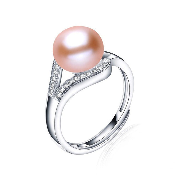 Sterling Silver Jewelry, Natural Pearl Ring, June Birthstone-PinkPinker