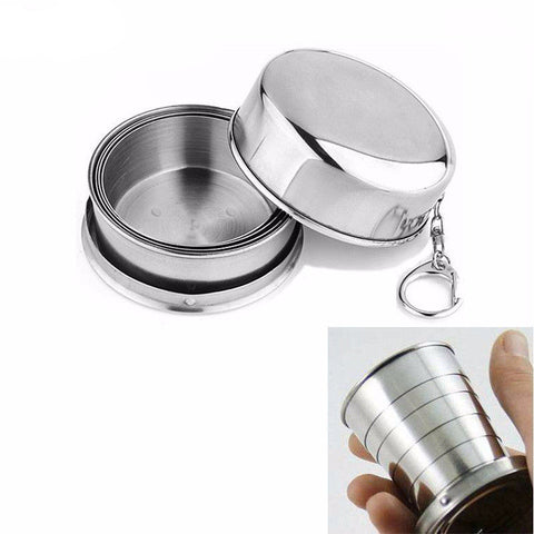 Stainless Steel Folding Cup for Travel, Camping, and Hiking, camping accessories-PinkPinker