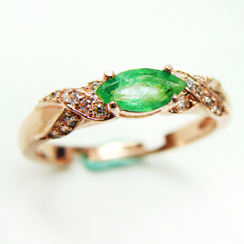 Natural Emerald Ring, Sterling Silver Jewelry, May Birthstone-PinkPinker