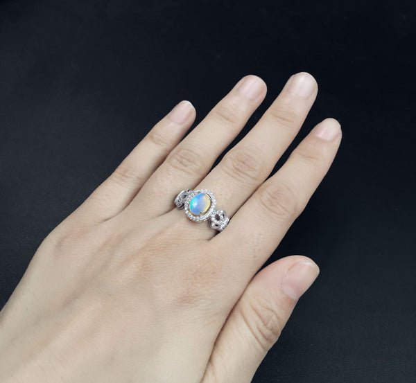 Natural Opal Ring, Sterling Silver Jewelry, October Birthstone-PinkPinker