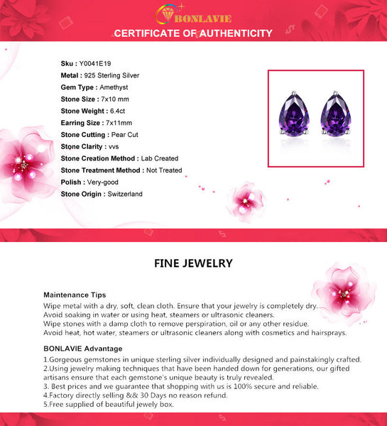 Nature Amethyst Earrings Sterling Silver Jewelry-PinkPinker