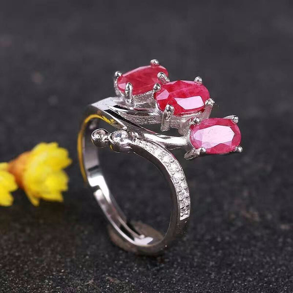 Sterling Silver Jewelry, Natural Ruby Ring, July Birthstone-PinkPinker