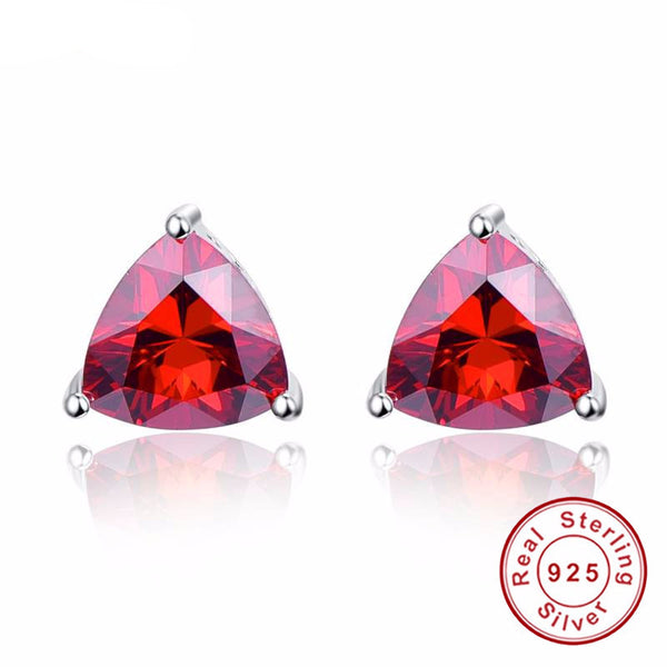 Natural Garnet Earrings Sterling Silver Jewelry January Birthstone-PinkPinker