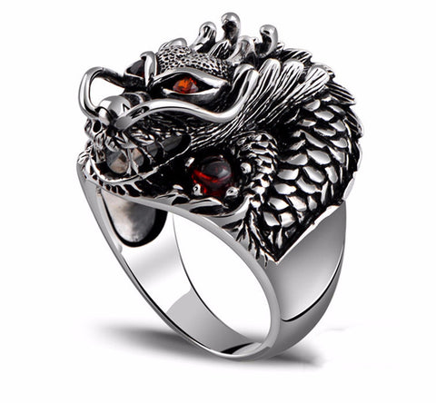 925 Sterling Silver Ring Dragon Shape for Men Sterling Silver Jewelry-PinkPinker