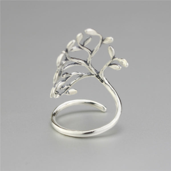 Sterling Silver Ring Tree Shape Wrapped Ring Sterling Silver Jewelry-PinkPinker
