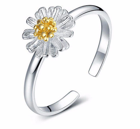 Sterling Silver Ring with Cubic Zirconia flower shape Ring for Women Sterling Silver Jewelry-PinkPinker