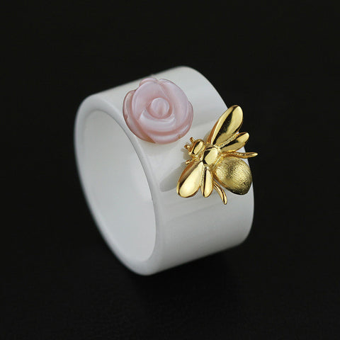 Sterling Silver ring with Natural Shell Flower for Women Sterling Silver Jewelry-PinkPinker