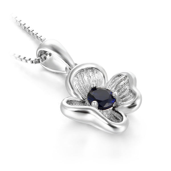 Created Sapphire Pendant For Women - Sterling Silver Jewelry-PinkPinker