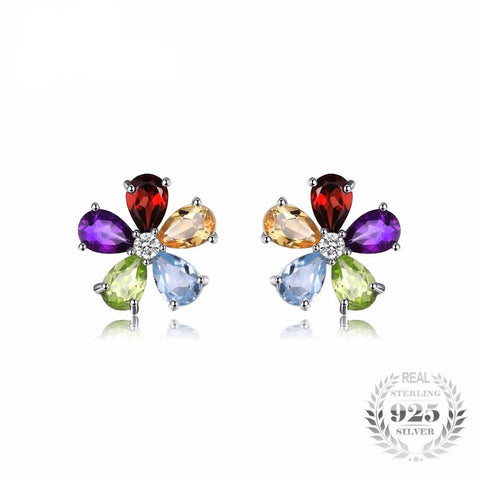 Sterling Silver Jewelry - Multicolor Natural Amethyst Citrine Garnet Peridot and Blue Topaz Earrings for women-PinkPinker