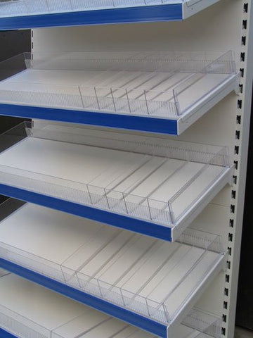 Shelf displaying use of risers and dividers