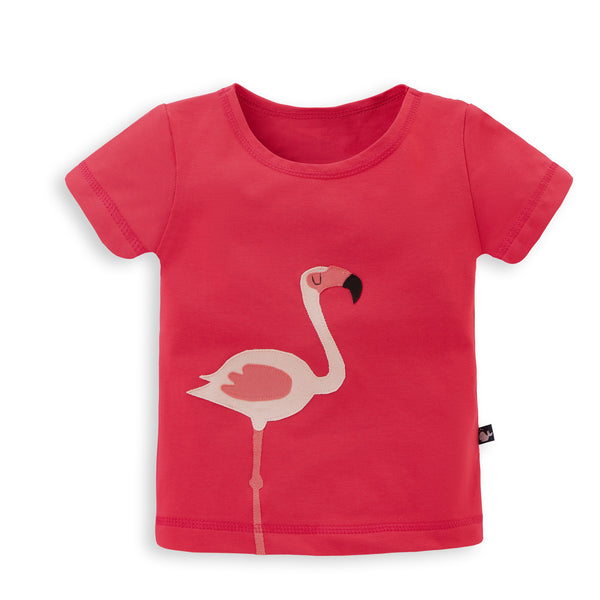 Kinder T-Shirt mit Applikation Flamingo aus Bio Jersey von internaht