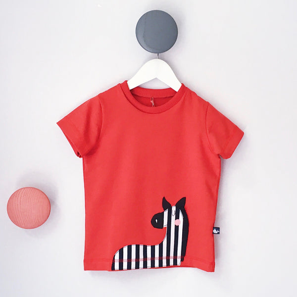 Orange Kinder T-Shirt mit Zebra-Applikation von internaht