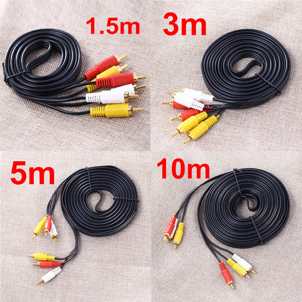 3 RCA Male to 3 RCA Male Composite Audio Video AV Cable Plug for DVD TV Yellow/Red/White FW1S