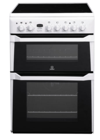 Indesit 60cm Double Oven Electric Cooker with Ceramic Hob - White