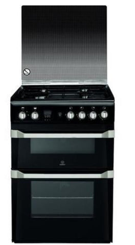 Indesit 60cm Double Oven Gas Cooker - Black