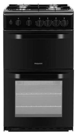 Hotpoint 50cm Double Cavity Gas Cooker - Black